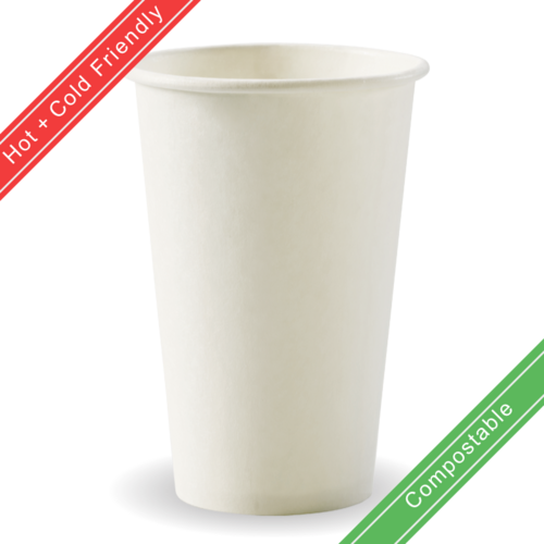 350ml / 12oz (80mm) Single Wall Plain White BioCup
