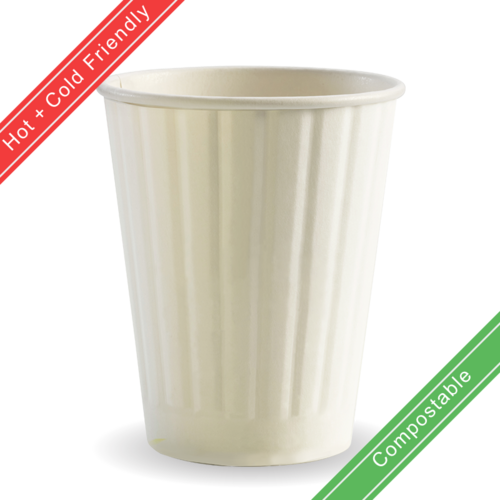 390ml / 12oz (90mm) Double Wall Plain White BioCup