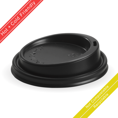 Large (90mm) Black PS Lid for 8(90mm) 12, 16 & 20oz BioCup