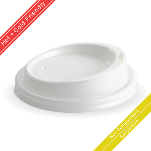 Large (90mm) White PS Lid for 8(90mm) 12, 16 & 20oz BioCup