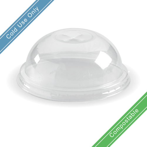Small (76mm) Clear Dome Lid with Straw Hole for 150, 200, 250 & 280ml Clear BioCups