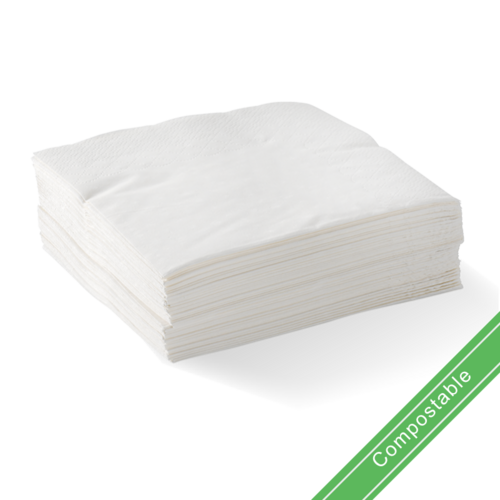 White - 2 Ply 1/4 Fold Corner Embossed Dinner BioNapkin